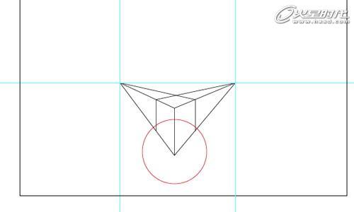 图12      绘制2点透视图      步骤1    画一条视平线,然后