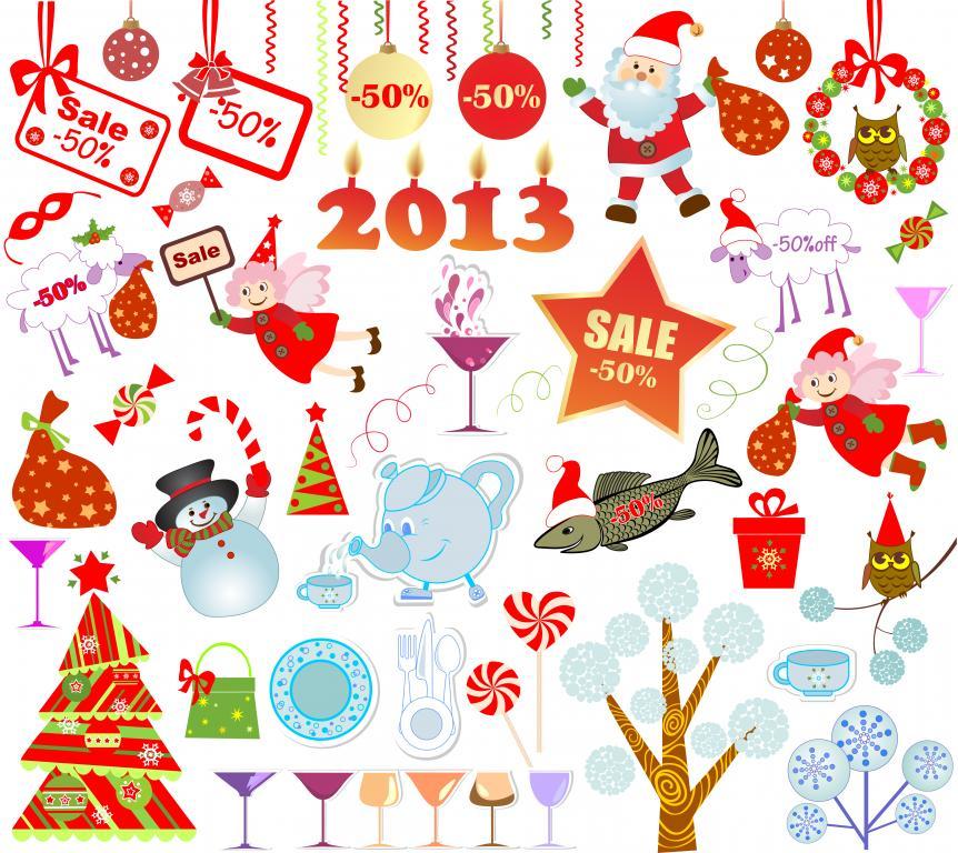 标签:装饰彩球圣诞树礼物矢量素材雪人圣诞老人标贴