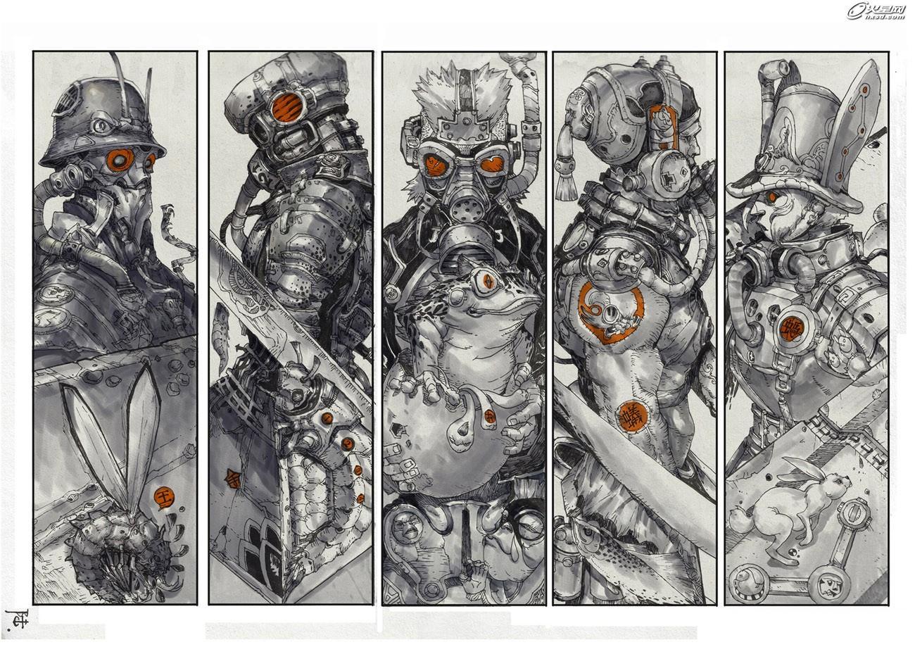 有快速的黑白稿叠色风格(如战神1-2-3);以线条为主,单色或双色做基本
