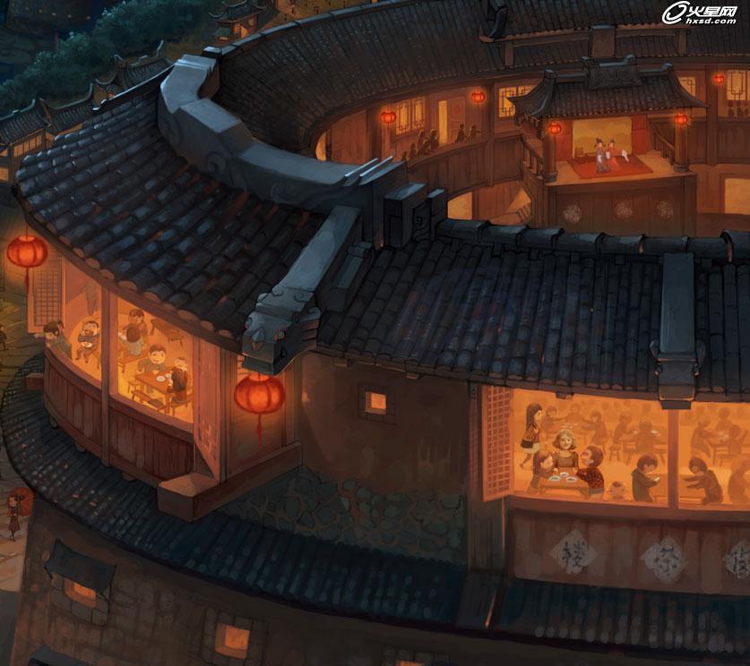 游戏设计教程:中国风场景原画教程:土楼变身二次元城
