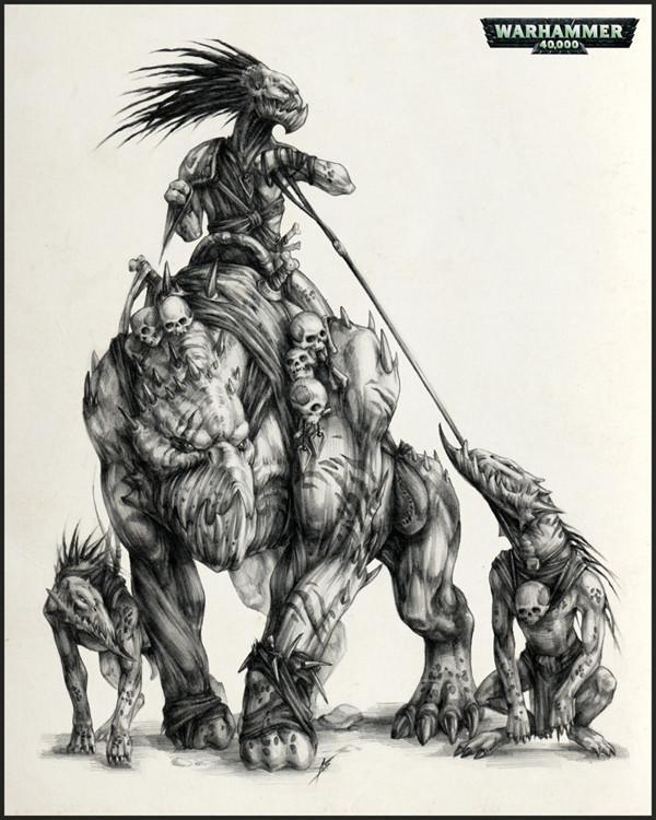 cg角色:异形&骷髅美女素描手绘稿欣赏